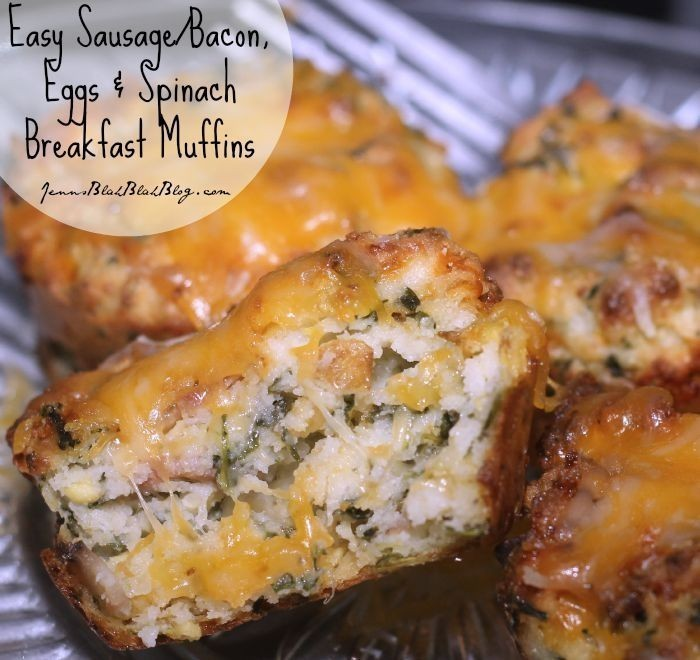 Easy Sausage Bacon, Eggs Spinach Breakfast Muffins