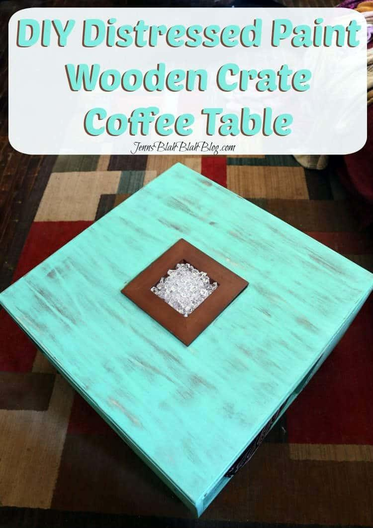 DIY Distressed Wood Crate Coffee Table